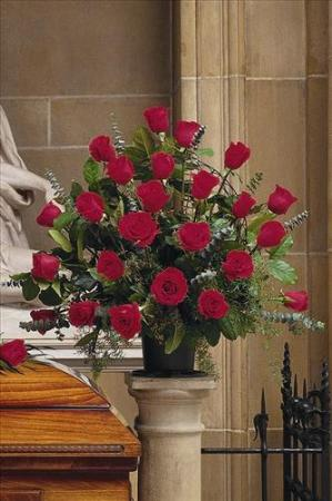 Basket With 24 Red Roses Freund Funeral Home Flowers
